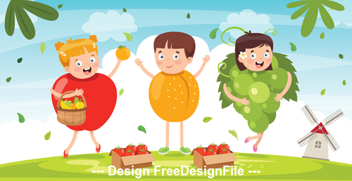 Children dressed as vegetables vector