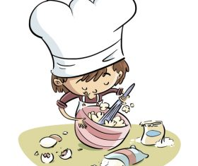Children learning to cook illustration vector