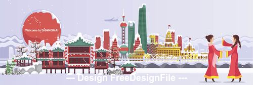 China Shanghai cityscape cartoon illustration vector