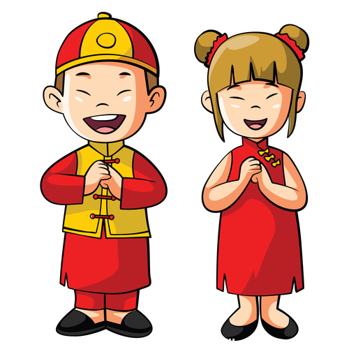 Chines couples cartoon character vector