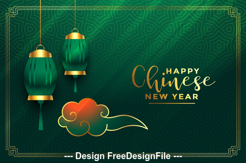 Chinese New Year greeting card on green background vector