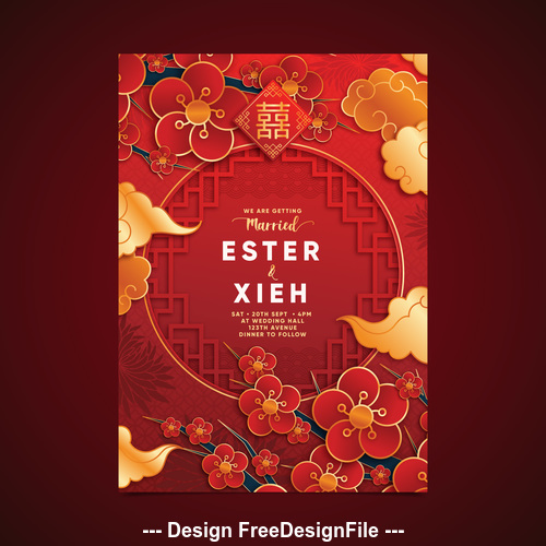 Chinese style wedding design vector