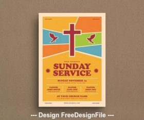Christian service flyer vector