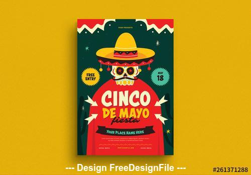 Cinco de mayo flyer with skull illustration vector