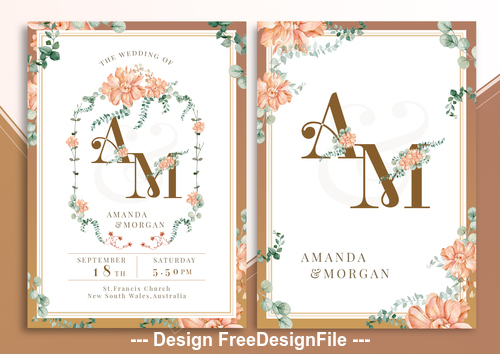 Cinnamon Stick Flower PSD Invitation Card