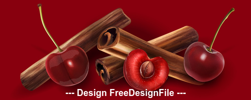 Cinnamon and cherry banner vector