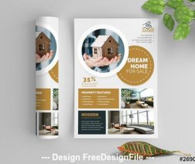 Circular elements business flyer and brown vector