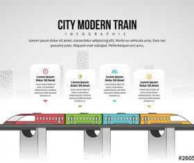City modern train infographic vector