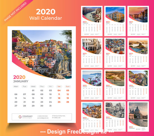 City style 2020 Wall calendar vector template