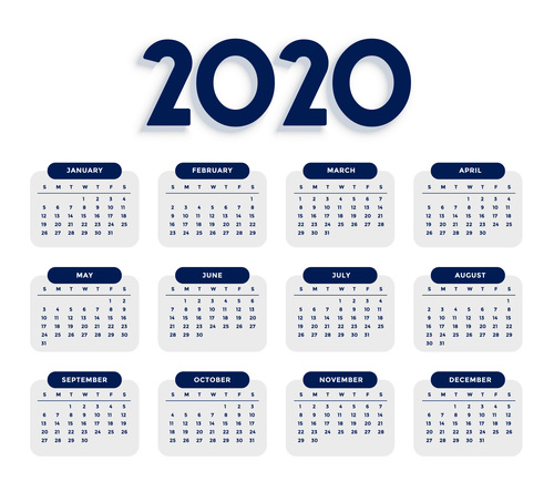 Clean elegant 2020 calendar template vector