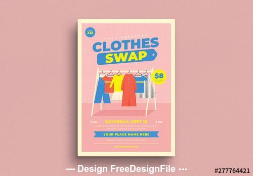 Clothing event flyer with graphic elements vector