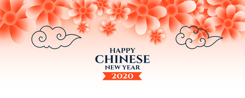 Cloud and flower background Chinese New Year greeting card vector