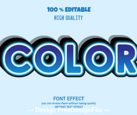 Color 3d font effect style illustration vector