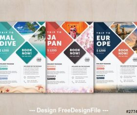 Color tourism promotion flyer vector