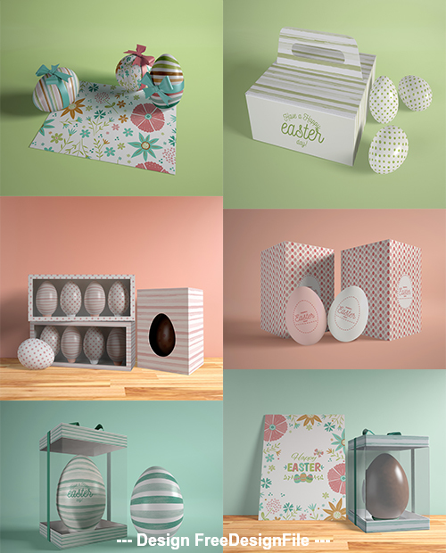 Colored Easter eggs and box psd template