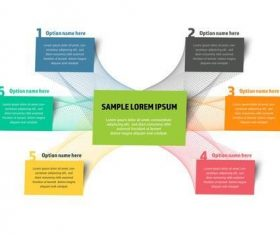 Colorful abstract info chart map with 6 boxes vector