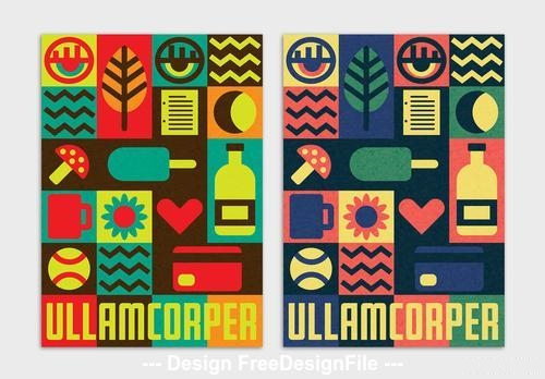 Colorful block style poster vector