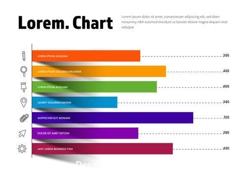 Colorful chart infographic with outlined icons vector