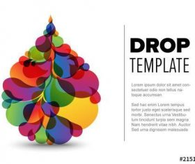 Colorful droplet flyer elements vector