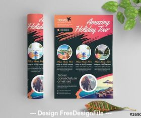 Colorful flyer with paint splatter vector