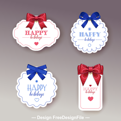 Colorful holiday gift tags vector
