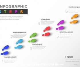Colorful infographic with footstep illustrations vector