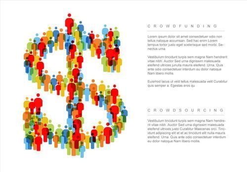 Colorful people and money infographic vector