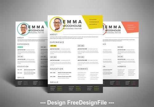 Colorful resume layout vector
