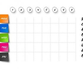 Colorful squares school schedule table vector