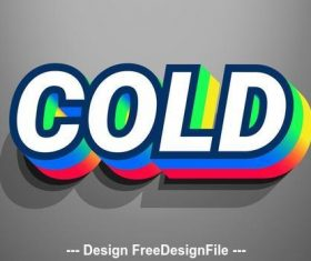 Colorful text effect with grey vector