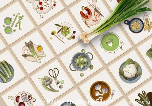 Colorful vegetable Icons vector