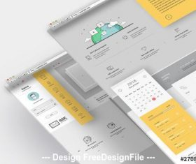 Company portfolio website layout with graphic icons vector