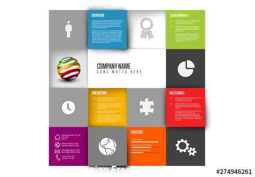Company profile mosaic grid vector