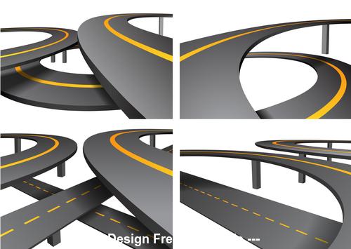 Complex viaduct road icon vector