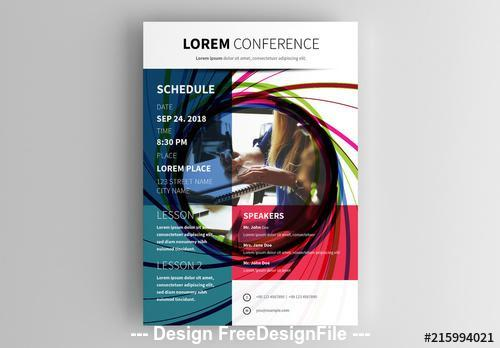 Conference flyer with colorful spiral photo placeholder vector
