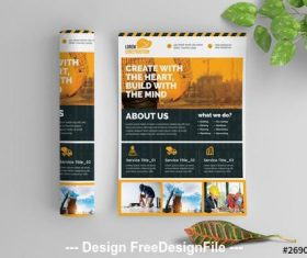 Construction Work flyer with graphic elements vector