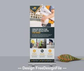 Construction business roll up banner vector