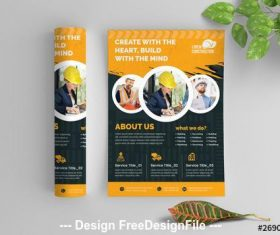 Construction flyer with graphic elements vector
