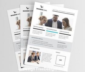 Corporate flyer with simple grid vector