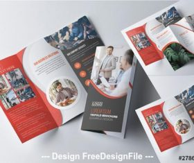 Corporate tri-fold brochure with red vector