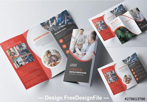 Corporate tri fold brochure with red vector