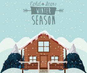 Cottage in the snow vector