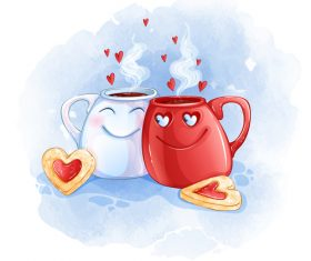 Couple cup cartoon illustration vector