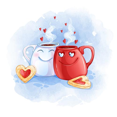 Couple cup cartoon illustration vector