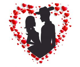 Couple valentines day silhouette vector