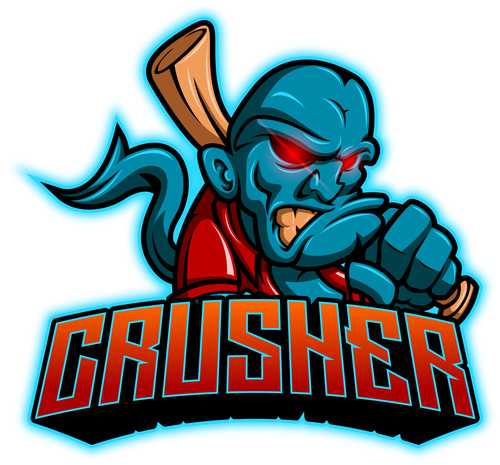 Crusher mascot esport logo vector
