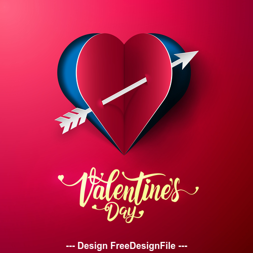 Cupids arrow valentines day greeting card vector