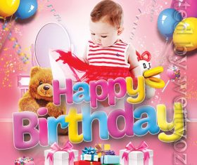 Cute baby happy birthday flyer psd template