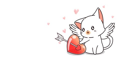 Cute cat and heart cartoon vector