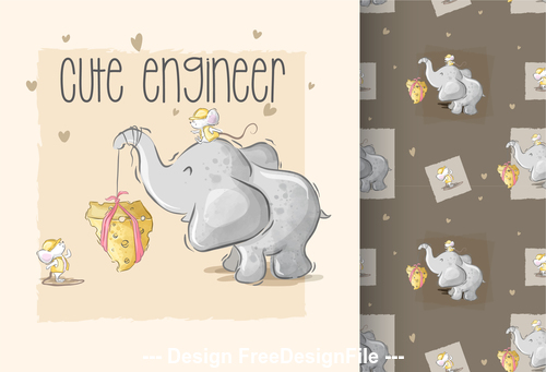Cute elephant and rat background cartoon decorative pattern vector